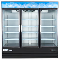 Avantco GDC-69 79 inch Black Three Section Swing Glass Door Merchandising Refrigerator with LED Lighting
