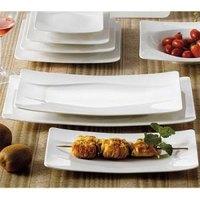 CAC MDN-14 Modern 13 1/2 inch x 7 inch New Bone White Rectangular Porcelain Platter - 12/Case