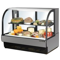 True TCGR-59-CD 59 inch Stainless Steel Curved Glass Refrigerated Deli Case - 32.5 Cu. Ft.