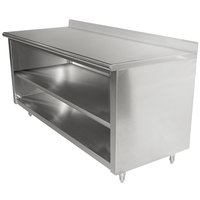 Advance Tabco EK-SS-305M 30 inch x 60 inch 14 Gauge Open Front Cabinet Base Work Table with Fixed Midshelf and 5 inch Backsplash