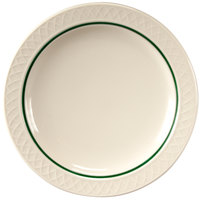 Homer Laughlin 1430-0347 Green Jade Gothic 9 inch Off White Narrow Rim Plate - 24/Case