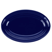 Tuxton CCH-096 Concentrix 9 3/4 inch x 6 1/2 inch Cobalt Oval China Platter - 24/Case