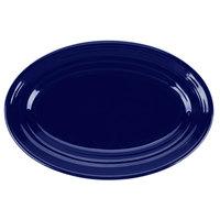 Tuxton CCH-096 Concentrix 9 3/4 inch x 6 1/2 inch Cobalt Oval China Platter - 24/Case