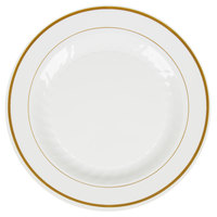 "WNA Comet MP10IPREM 10 1/4"" Ivory Masterpiece Plastic Plate with Gold Accent Bands - 120/Case"