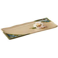 GET 142-28-TD Japanese Traditional Wavy Edge Rectangular Plate 11 inch x 4 1/2 inch   - 12/Case