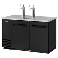 Turbo Air TBD-2SB (2) Double Tap Kegerator Beer Dispenser - Black, (2) 1/2 Keg Capacity