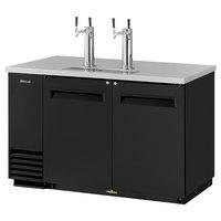 Turbo Air TBD-2SB (2) Double Tap Kegerator Beer Dispenser - Black, (2) 1/2 Keg Capacity