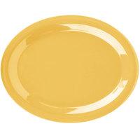 Carlisle 3308022 Sierrus 13 1/2 inch x 10 1/2 inch Honey Yellow Oval Melamine Platter - 12/Case