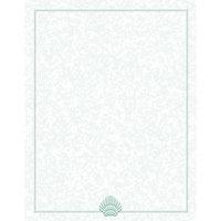 8 1/2 inch x 11 inch Menu Paper - Green Shell Border - 100/Pack