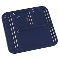 Carlisle 4398450 10 inch x 9 3/4 inch Dark Blue Melamine Right Hand 4 Compartment Tray