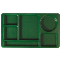 Cambro 915CW119 Camwear (2 x 2) 8 3/4 inch x 15 inch Sherwood Green Six Compartment Serving Tray - 24/Case