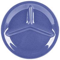 GET CP-10-PB Diamond Mardi Gras 10 1/4 inch Peacock Blue Three Compartment Melamine Plate - 12/Case