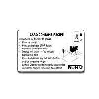 Bunn Recipe Card for Recipe Writer Interface (Bunn 34447.0000)
