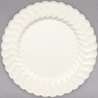 Fineline Flairware 209-BO 9 inch Bone / Ivory Plastic Plate - 18/Pack