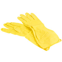 Small Multi-Use Yellow Rubber Flock Lined Gloves, Pair - 12/Pack