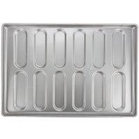 Chicago Metallic 41055 12 Mold Glazed Customizable Rounded End Hoagie Bun Pan