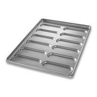 Chicago Metallic 41055 12 Mold Glazed Rounded End Hoagie Bun Pan