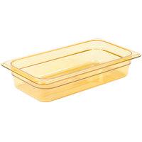 Carlisle 3086013 StorPlus 1/3 Size Amber High Heat Plastic Food Pan - 2 1/2 inch Deep
