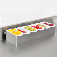 6-Compartment Stainless Steel Condiment Bar