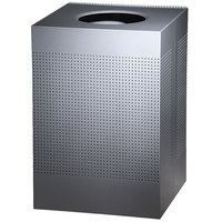 Rubbermaid FGSC22EPLSM Silhouettes Silver Metallic Steel Designer Waste Receptacle - 50 Gallon