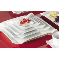 CAC TMS-21 Times Square 12 inch Bright White Square China Plate - 12/Case