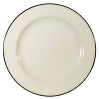 Homer Laughlin 1569604 Lyrica Lydia Green 6 3/8 inch Off White China Plate - 36/Case