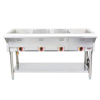 APW Wyott ST-4S Four Pan Exposed Stationary Steam Table with Stainless Steel Legs and Undershelf - 2000W - Open Well, 120V