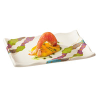 GET 142-20-CO 8 inch x 5 1/2 inch Contemporary Melamine Rectangle Plate with Wavy Edges   - 12/Pack