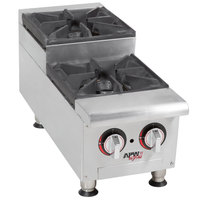 APW Wyott HHPS-212 Natural Gas Heavy Duty 2 Burner Step-Up Countertop 12 inch Range / Hot Plate - 60,000 BTU