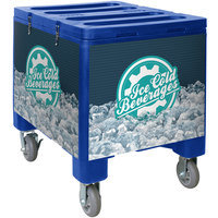 IRP 3101492 Blue Ice Caddy 200 lb. Mobile Ice Bin / Beverage Merchandiser