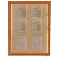 Aarco LWL4836O 48 inch x 36 inch Oak Finish Lighted Bulletin Board Cabinet