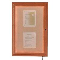 Aarco 48 inch x 36 inch Oak Finish Lighted Bulletin Board Cabinet
