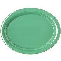Carlisle 4308009 Durus 13 1/2 inch Meadow Green Oval Melamine Platter - 12/Case