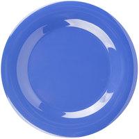 Carlisle 3301014 Sierrus 10 1/2 inch Ocean Blue Wide Rim Melamine Plate - 12/Case