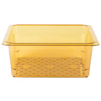Cambro 25CLRHP150 H-Pan 1/2 Size Amber High Heat Colander Pan - 5 inch Deep