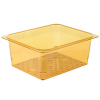 Cambro 25CLRHP150 H-Pan™ 1/2 Size Amber High Heat Plastic Colander Pan - 5 inch Deep