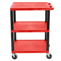 Luxor WT34RS Red 34 inch Three Shelf AV Utility Cart