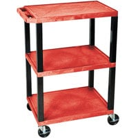 Luxor / H. Wilson WT34RS Red 34 inch Three Shelf AV Utility Cart
