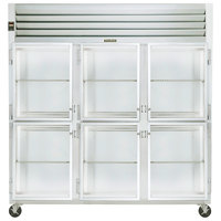 Traulsen G32001 3 Section Glass Half Door Reach In Refrigerator - Left / Left / Right Hinged Doors