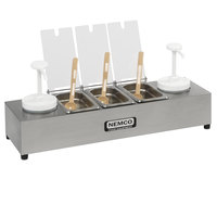 Nemco 88101-CB-1 24 inch Stainless Steel Condiment Bar with Two 1.5 Qt. Pumps and 1.1 Qt. Condiment Trays