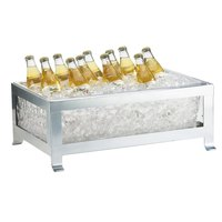 Cal-Mil 1582-12-43 Soho Silver Ice Housing with Clear Pan - 20 3/4 inch x 14 3/4 inch x 8 inch