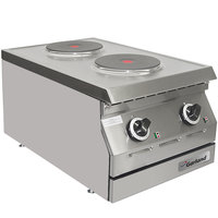 Garland ED-15HSE Designer Series 15 inch Two Solid Burner Electric Countertop Hot Plate - 240V, 1 Phase, 5.2 kW