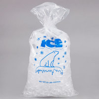 20 lb. Plastic Ice Bag with Blue ICE Logo   - 500/Bundle