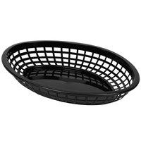 Tablecraft C1084BK Black Jumbo Oval Polypropylene Fast Food Basket - 12/Pack
