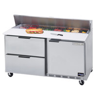 Beverage-Air SPED60HC-16-2 60 inch 1 Door 2 Drawer Refrigerated Sandwich Prep Table