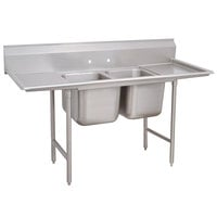 Advance Tabco 93-2-36-24RL Regaline Two Compartment Stainless Steel Sink with Two Drainboards - 85 inch