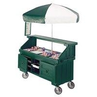 Cambro Camcruiser CVC724519 Green Customizable Vending Cart with Umbrella and 4 Counter Wells