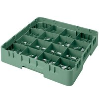 Cambro 16S1114119 Camrack 11 3/4 inch High Customizable Sherwood Green 16 Compartment Glass Rack