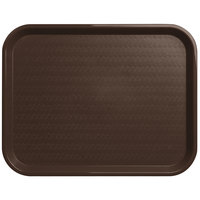Carlisle CT141869 Customizable Cafe 14 inch x 18 inch Chocolate Brown Standard Plastic Fast Food Tray - 12/Case