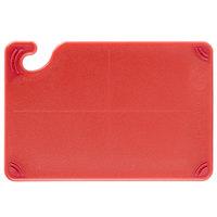 San Jamar CBG6938RD Saf-T-Grip® 9 inch x 6 inch x 3/8 inch Red Bar Size Cutting Board with Hook